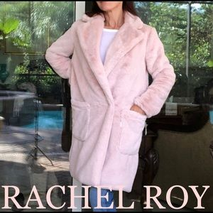 RACHEL RACHEL ROY faux fur oversized pink coat S